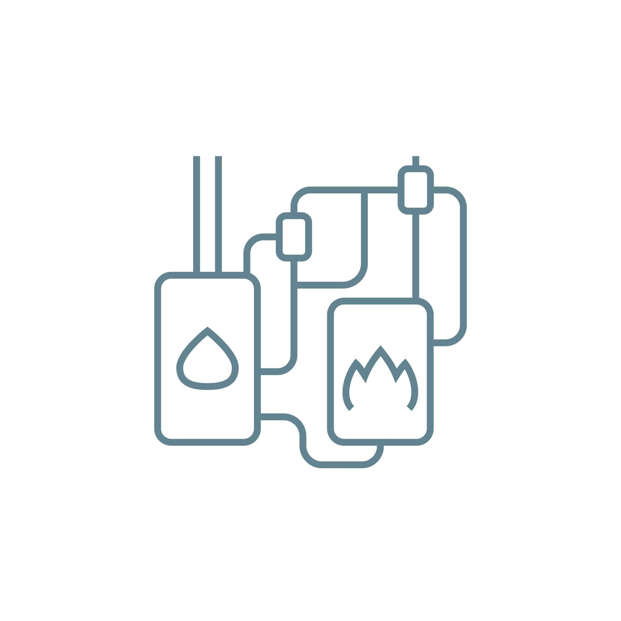 Autonomous heating system line icon, vector illustration. Autonomous heating system linear concept sign.