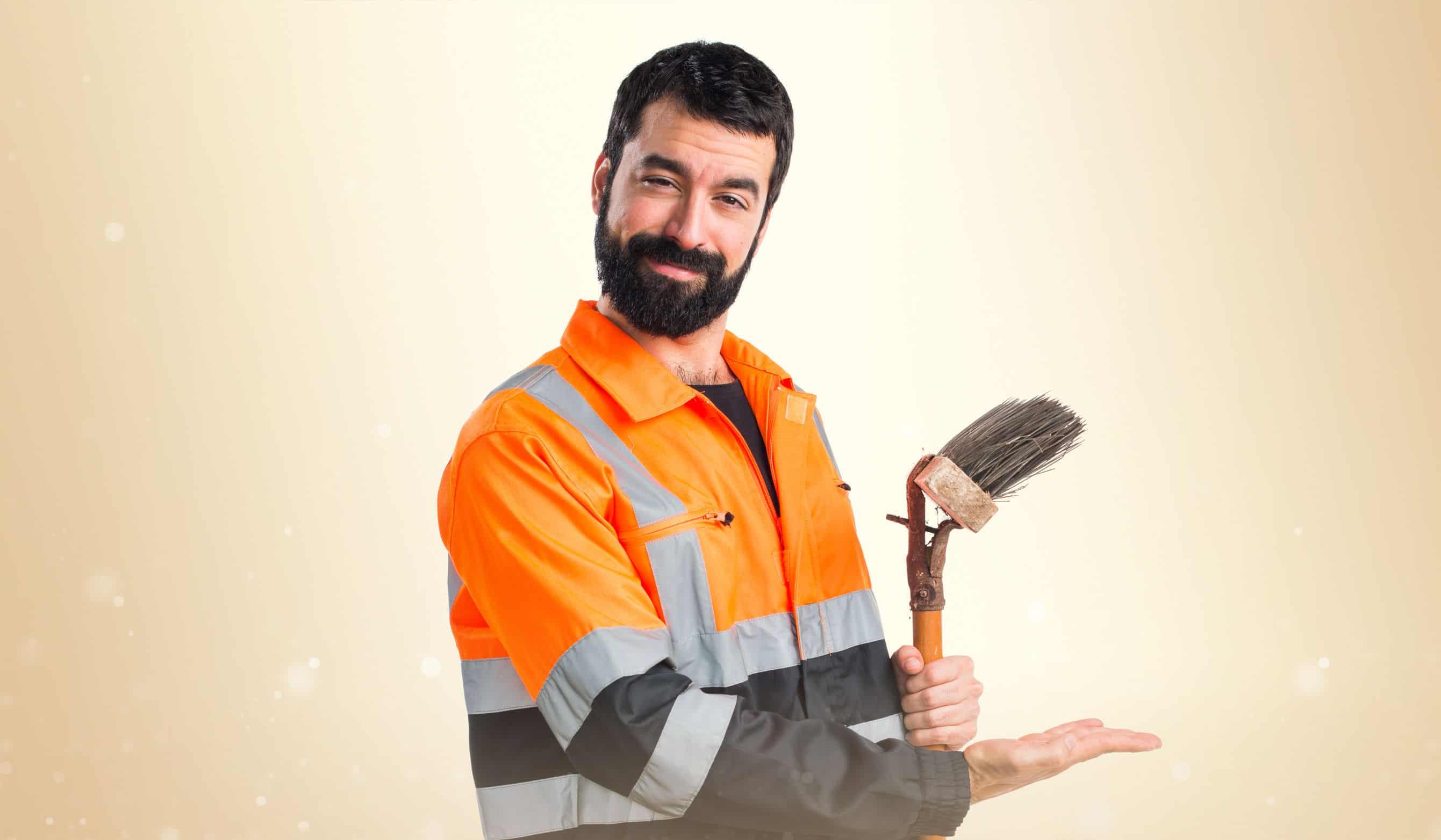 Garbage man presenting something